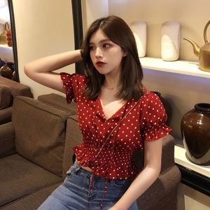 red polka dot babydoll top